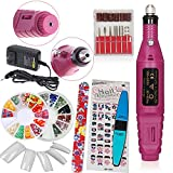 iMeshbean Pink Color All in One Professional Acrylic Pink Nail Art Drill KIT Electric File Buffer Bits Salon Pen Machine, Easy to Use and Change Bits USA (Color: Blue)
