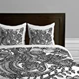 DENY Designs Valentina Ramos Bird In Flowers Black White Duvet Cover, Queen