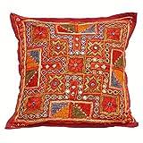 Eminent Craft Brasilia Decorative Throw Pillow / Cushion Cover Auburn 16' X 16' Cotton Kantha Handmade in Jaipur India