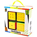 Speed Cube Set, Moyu Classroom Mofang Jiaoshi Set of 2x2x2 3x3x3 4x4x4 5x5x5 Stickerless Speed Puzzle Cube 4pcs Gift Box, Speed Cube Bundle Stickerless, IQ Games Puzzles with Gift Packing