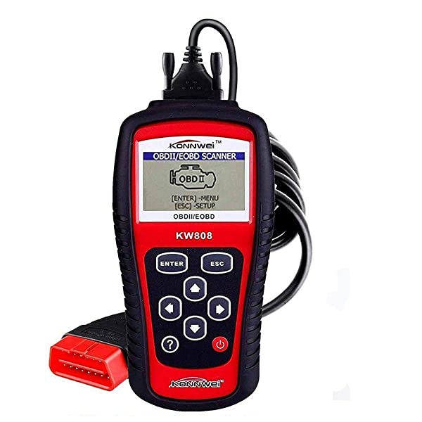 KW808 EOBD OBDII OBD2 Car Engine Check Diagnostic Fault Code Scanner Standard 16-Pin with Backlit LCD Screen Auto Fault Code Reader