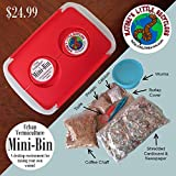 A complete Mini Earthworm Farm, with 100 live redworms, bedding, starter food, instructions and container. In no time at all, you will have a functioning earthworm bin capable of consuming several ounces a day of materials, converting it to high qual...