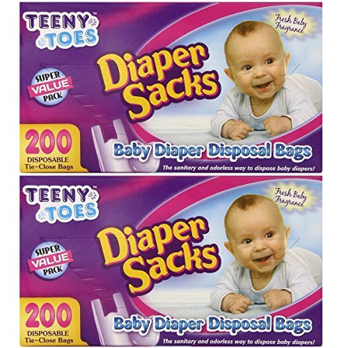 Teeny Toes Baby Disposable Diaper Sacks, 200 Count (Pack of 2)