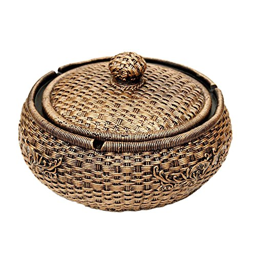 Tri-polar Large Cigarette Table Capacity Cigar Ashtray with Lid for Home Decor,Rattan