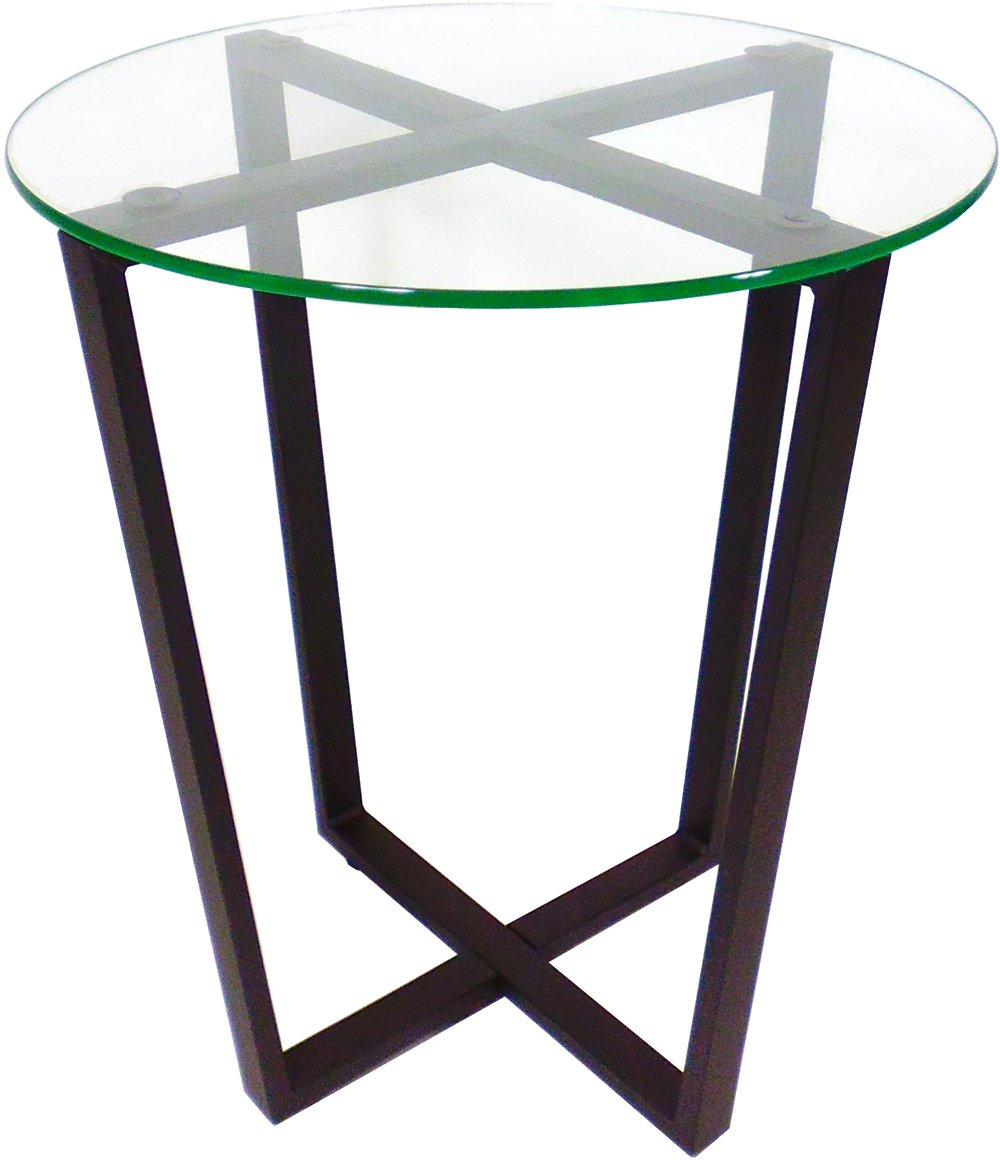 Mango Steam Metro Glass End Table - Clear Top / Black Base