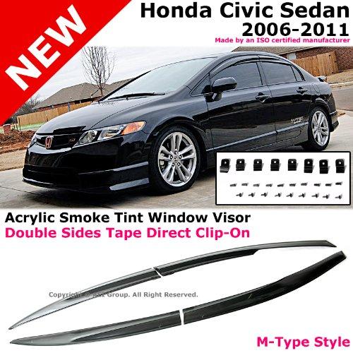 4pc Smoke Window Visor Rain Vent Shade Guard Honda Civic 4 Door Sedan 2006-2011
