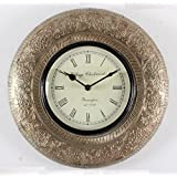 Home And Bazaar Traditional Rajasthani Wall Clock With White Metal Finish 12""