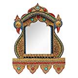 999Store peocock handcrafted wooden decorative wall mirror