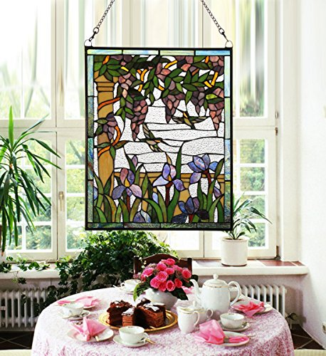 Makenier Vintage Tiffany Style Stained Art Glass Wisteria and Hummingbirds Window Panel Wall Hanging 0