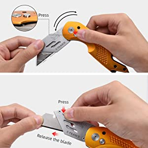 Professional Box Cutter Folding Utility Knife, E-PRANCE Pocket Carpet Knife with 14 Replaceable SK5 Stainless Steel Blades, Easy Release Button, Quick Change and Locking Razor Knife (Gold) (Color: Gold)
