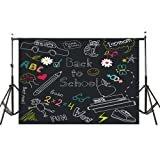 7x5ft Back to School Photography Backdrops, MeeQee Blackboard Classroom Backdrop for School Multicolor Drawing Pencils Chalkboard Photo Studio Background for Student, BTS628 (Color: BTS628)