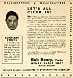 1943 Ad Hallicrafters Bob Henry Radio Shop W9ARA Communications Receivers Device - Original Print Ad