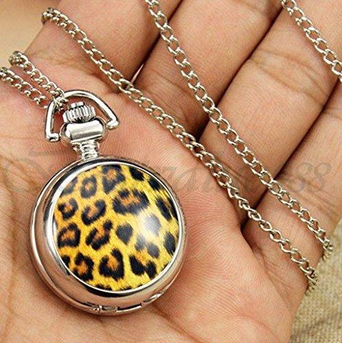 Colana Orologio Specchio Leopardata, Elegante ed Originale orologio femminile da collo
