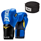 Everlast Elite Pro Style Leather Training Boxing Gloves & 120 Inch Hand Wraps