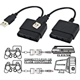 StyleZ 2 Pcs for Playstation 2 Controller to USB Adapter for PC or Playstation 3 Converter Cable for Sony DualShock PS2 Controllers (Color: Black, Tamaño: Medium)