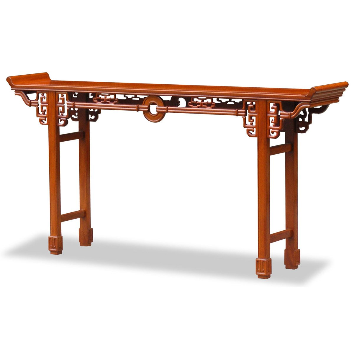ChinaFurnitureOnline Rosewood Console Table, 72 Inches Coin Design Altar Table Natural Finish