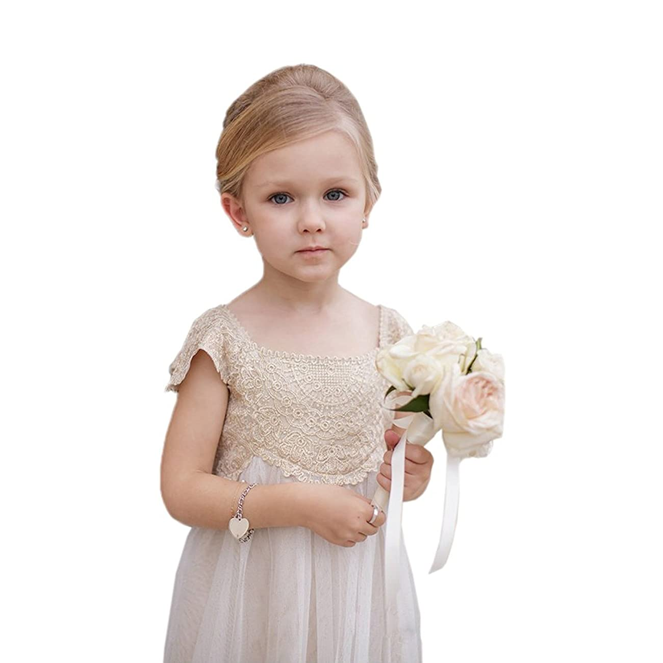 Flower Girl Wedding Vintage Champagne Lace Tulle First Communion Dress 0