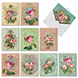 M2379OCB Romance And Roses: 10 Assorted Blank All-Occasion Note Cards Featuring Romantic Vintage Styled Collage with Roses, w/White Envelopes.