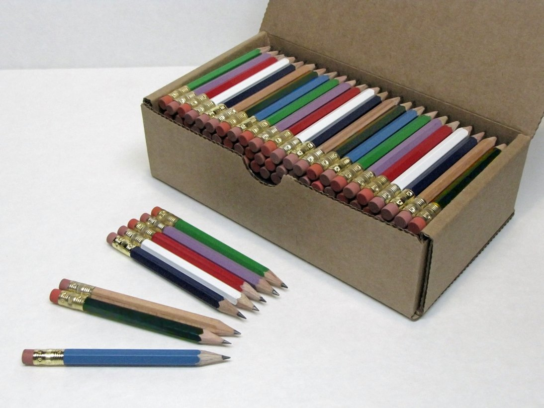 Beacon-Ridge Half Pencils with Eraser, Golf, Classroom, Pew, #2, Hexagon, Sharpened, Box of 144. Colors: Eight Mixed Classics simulation mini golf course display toy set with golf club ball flag