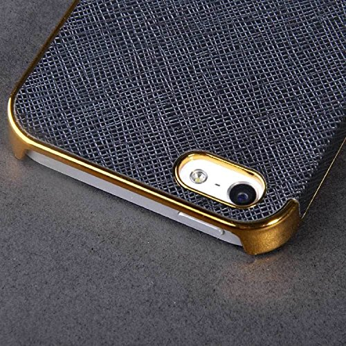 Frame Luxury Leather Chrome Hard Back Case Cover for Iphone 5 5s Black Gold
