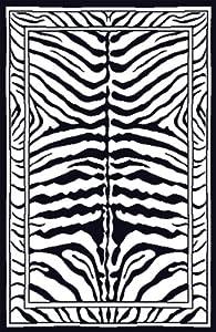 "7'8"" x 10'7"" Rectangular Oscar Isberian Rugs Area Rug Black Color Machine Made Turkey ""Zone Collection"""