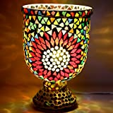 EarthenMetal Handcrafted Traditional Flower Shaped Mosaic Design Multicoloured Glass Table Lamp - B01CUGU5FQ