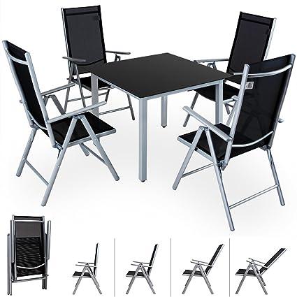 Alu Sitzgruppe 4+1 Sitzgarnitur Gartengarnitur Tischplatte aus Glas + klappbare und neigbare Stuhle 7fach verstellbar Modellauswahl