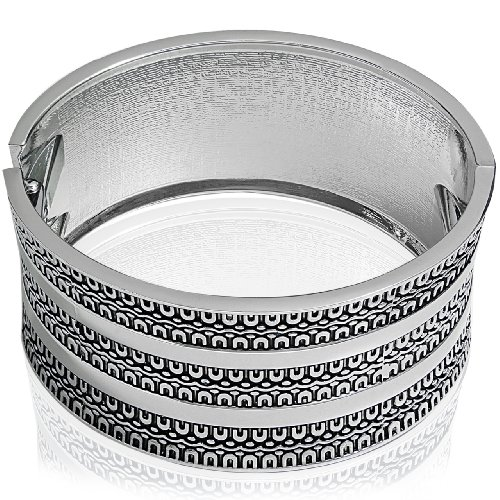 Hinged Bangle Bracelet - Concave Design Silver Polished