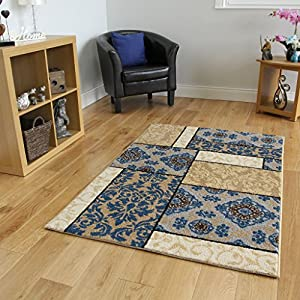 Bombay Beige & Dark Blue Vintage Style Floral Rugs - 4 Sizes Available from The Rug House