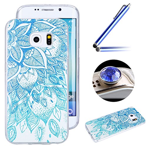 Etsue Tpu Case for Samsung Galaxy S6 Edge,Pretty Blue Flower Slim Thin Soft Gel Rubber Tpu Case Cover for Samsung Galaxy S6 Edge+Blue Stylus Pen+Bling Glitter Diamond Dust Plug(Colors Random)-Blue Flower