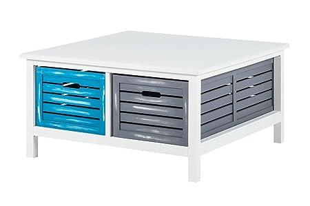 Couchtisch 90x90 Wohnzimmer Schubladen Tisch Beistelltisch Paulownia teilmassiv weiss