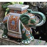Large Porcelain Elephant Stool (Green)