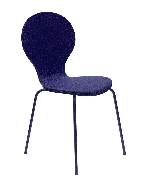 Tenzo 610-064 FLOWER 4-er Set Designer Stühle, Schichtholz lackiert, matt, Sitzkissen in Lederoptik, Untergestell Metall, lackiert, 87 x 46 x 57 cm, marineblau günstig bestellen