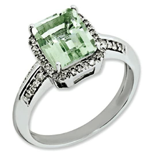 Sterling Silver Rough Diamond and Green Quartz Ring - Ring Size Options Range: J to T