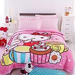 MZPRIDE Cute Cartoon Hello Kitty Quilt Hello Kitty Kids Summer Comforter Twin(59\'\'*79\'\')