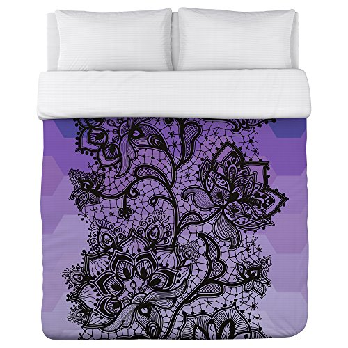Bentin Home Deco Lace Ombre Stripe Duvet Cover, King, Purple deco home вешалка