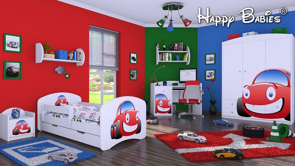 """6 – teiliges Set Jugendzimmer Kindermöbel Zimmermöbel """"AUTO"""" mit Kinderbett"""