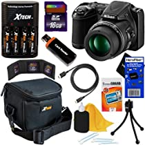 Nikon COOLPIX L820 16 MP CMOS Digital Camera with 30x Zoom Lens & HD Video - Black (Import) + 4 AA Batteries with Charger + 9pc Bundle 16GB Accessory Kit w/ HeroFiber® Ultra Gentle Cleaning Cloth
