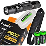 Fenix PD32 2016 Edition 900 Lumen CREE LED Tactical Flashlight with holster, lanyard, Two EdisonBright CR123A Lithium Batteries and EdisonBright battery box bundle