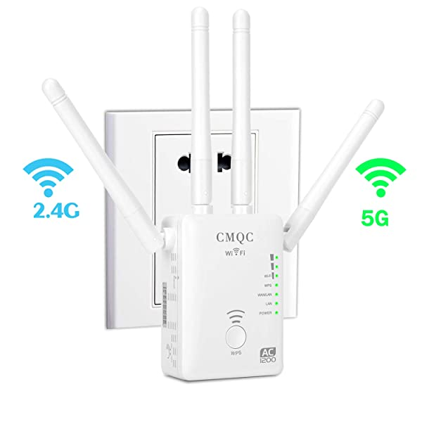 WiFi Extender - AC1200 Dual Band WiFi Repeater | 2.4G and 5G Mini Wi-Fi Signal Booster | Wireless Access Point with 4 Ethernet Antennas to Eliminate Dead Zones (Color: Dual Band 1200Mbps White)