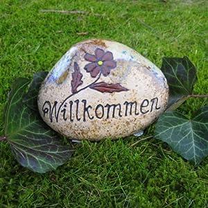 Spruchstein willkommen 14x11x5cm deko stein gartendeko for Gartendeko stein