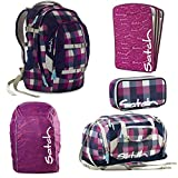 satch by Ergobag Berry Carry 5-teiliges Set Rucksack, Sporttasche, Schlamperbox, Regenhaube Lila & Heftebox Lila