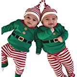 EGELEXY Baby Unisex Holiday Elf Photo Props Costume Romper Onesie Size 12-18Months/Tag90 (Style Green) (Color: Style Green, Tamaño: 12-18Months/Tag90)
