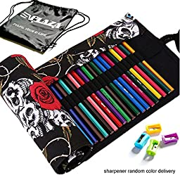 E\'Plaza Canvas Sketching Drawing Pencil Wrap Pouch Roll Up Case Holder Storage Bag (72 inserting, red rose & skull)