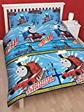 DOUBLE BED THOMAS THE TANK ENGINE WHEESH DUVET SET QUILT COVER SET BLUE WHITE RED BOYS REVERSIABLE