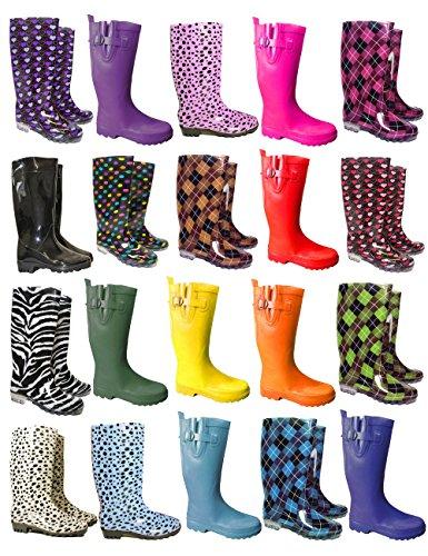Delle donne delle signore Stivali neve pioggia Festival Wellington Stivali Size EU : 37, 38, 39, 40-BLK-5