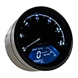 Astra Depot 12000RPM KMH MPH LCD Digital Odometer Speedometer Tachometer Blue For 4 Stroke 2 4 Cylinders Motorcycle (Color: Blue)