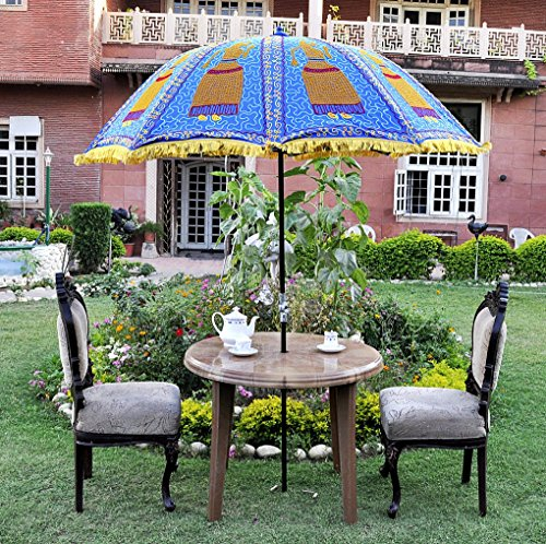 UML03805 Rajasthani Handmade Sun Protection Garden Patio Umbrella Parasol  Blue Color 133 X 183 Cm
