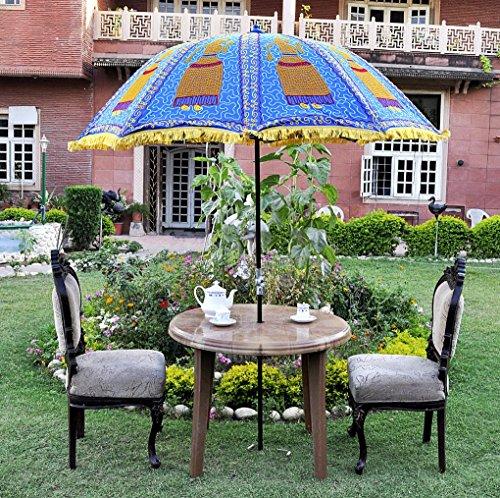 UML03805 Rajasthani Handmade Sun Protection Garden Patio Umbrella Parasol  Blue Color 133 X 183 Cm