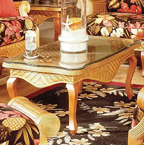 Woven Rattan Glass Top Coffee Table